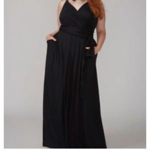 Lane bryant black maxi dress with Pom Pom tie